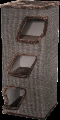 מתקן גירוד 3 קומות מפואר לחתול בצבע חום