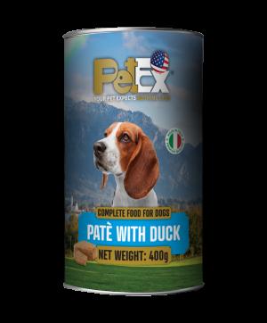 פטקס שימורי מזון מלא לכלבים עם בשר ברווז במרקם פטה 400 גרם