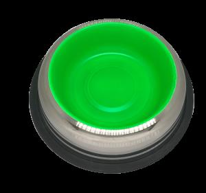 פטקס -קערת נירוסטה עם גומיות בתחתית בצבע ירוק זוהר (דגם באלי) 0.45 ליטר