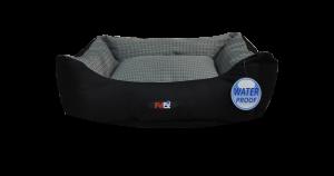 מיטה לכלב בצבע אפור שחור מבד הדוחה מים בגודל 60X50X20