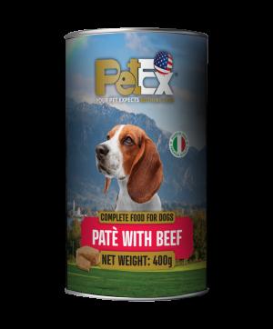 פטקס שימורי מזון מלא לכלבים עם בשר בקר במרקם פטה 400 גרם