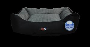 מיטה לכלב בצבע אפור ושחור מבד הדוחה מים גודל 75X60X22