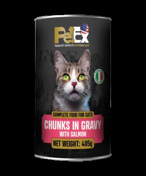 פטקס שימורי מזון מלא לחתולים בוגרים עם נתחי סלמון ברוטב עסיסי 405 גרם