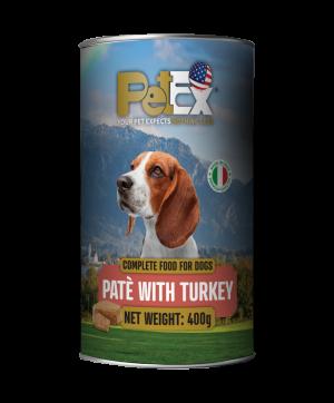 פטקס שימורי מזון מלא לכלבים עם בשר הודו במרקם פטה 400 גרם