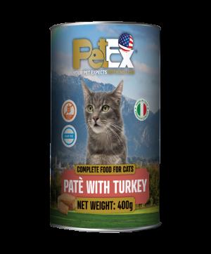 פטקס שימורי מזון מלא להזנת חתולים עם בשר הודו במרקם פטה 400 גרם