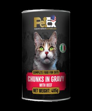 פטקס שימורי מזון מלא לחתולים בוגרים עם נתחי בקר ברוטב עסיסי 405 גרם