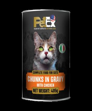 פטקס שימורי מזון מלא להזנת חתולים עם נתחי בשר עוף ברוטב עסיסי 405 גרם